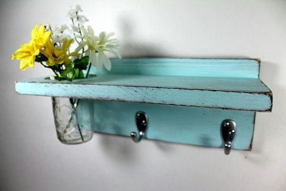 Vintage shelf 2 key hooks with floral wall vase, wood, distressed ...