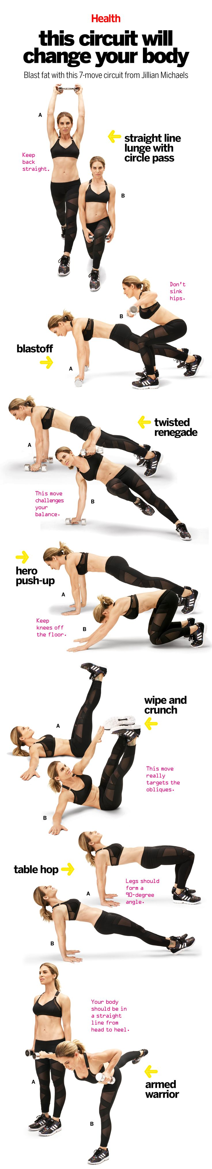 This comprehensive workout, which Jillian Michaels created for Health, trains the muscles in a way that will bust through even the most persistent plateau. Do it four times a week, paired with 20 minutes of high-intensity interval training, and watch your body be transformed. | Health.com