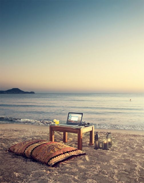 yes pleaseBeach Sunsets, Dreams, Offices Spaces, Work Spaces, At The Beach, Workspaces, The Offices, Places, Home Offices
