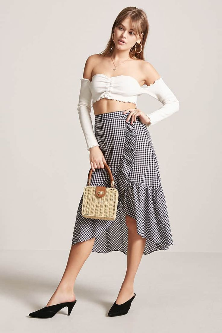 Product Name:High-Low Gingham Skirt, Category:bottoms, Price:17.9