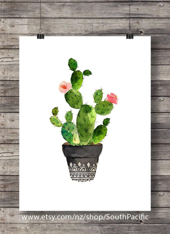 Cacti art print Watercolor cactus Hand painted by SouthPacific