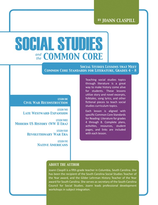 Social Studies and the Common Core is a series of hour-long lesson plans designed to teach English Language Arts Standards through Social Studies. Lesson 1 focuses on Civil War Reconstruction. Suited for grades 4 through 8. Buy all 5 lessons together and save $5! Now available on www.teacherspayteachers.com.