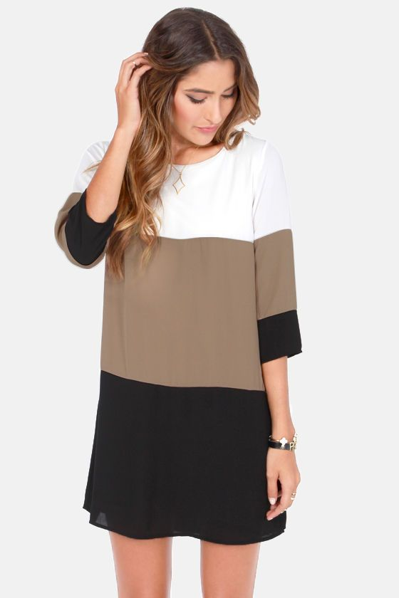 LULUS Exclusive Citrus Grove Taupe Color Block Shift Dress at Lulus.com!