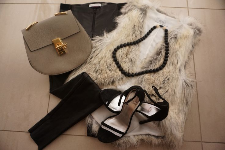 Say no to frumpy mummy and hello to yummy mummy!  Glam Rock Mama ootd - chloe drew bag, bsable faux fur vest, stuart weitzman nudist heels, alice+olivia leather leggings and OUR GUMMY WEARS CHEWELLERY NECKLACE IN LICORICE!