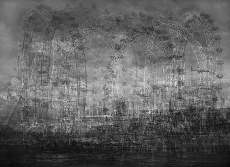 Idris Khan (b.1978, UK) - Pretty as a Thousand Postcards (2012) The Houses of Parliament & The London Eye, London [more Idris Khan   artist found at alecshao]