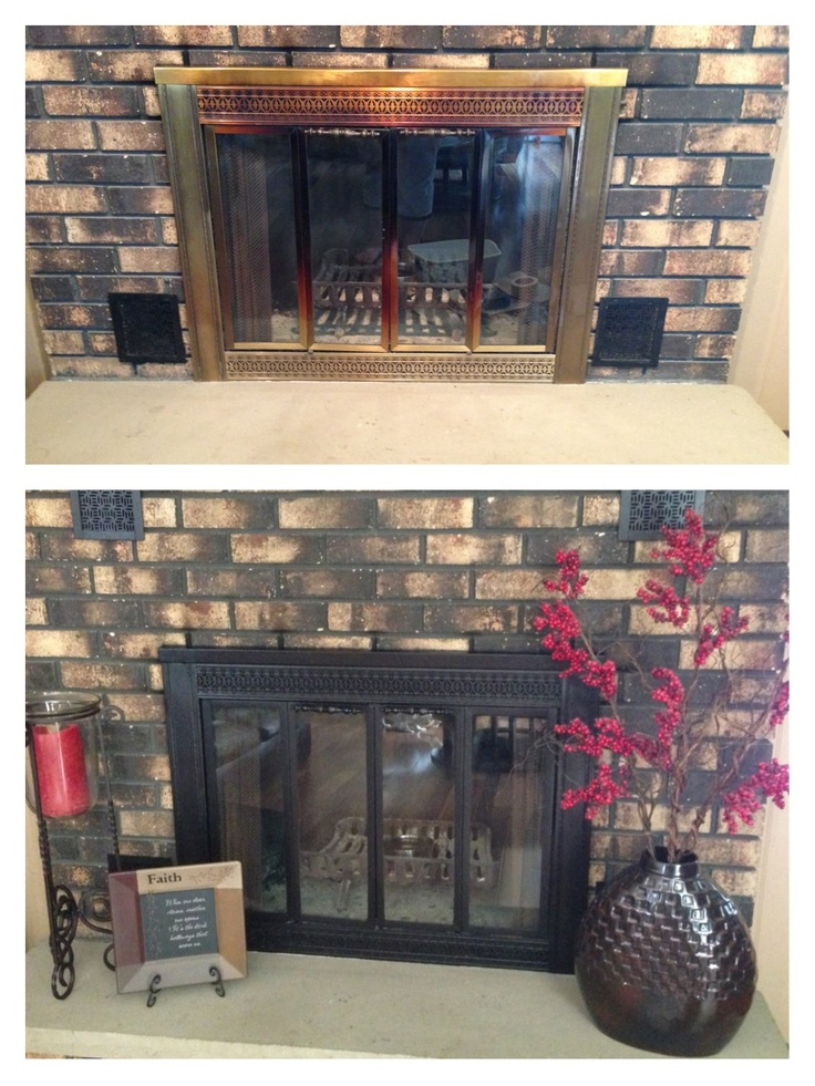 Painted old brass fireplace cover with Rustoleum high heat - Black paint.