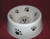Ceramic dog bowl hand painted, customizable with name