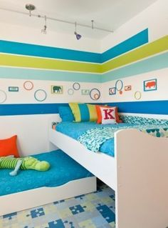Cute L Shaped Bunk Beds for Children Bedroom: Enchanting L Shaped Bunk Beds In Midcentury Kids Bedroom With Soft Blue Bed Linen Several Pill...
