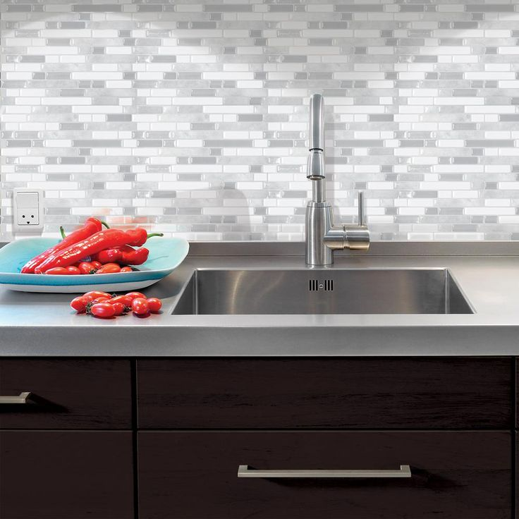Smart Tiles Bellagio Blanco 10.06 in. W x 10 in. H Peel and Stick Decorative Mosaic Wall Tile Backsplash in White and Grey-SM1085-1 - The Home Depot