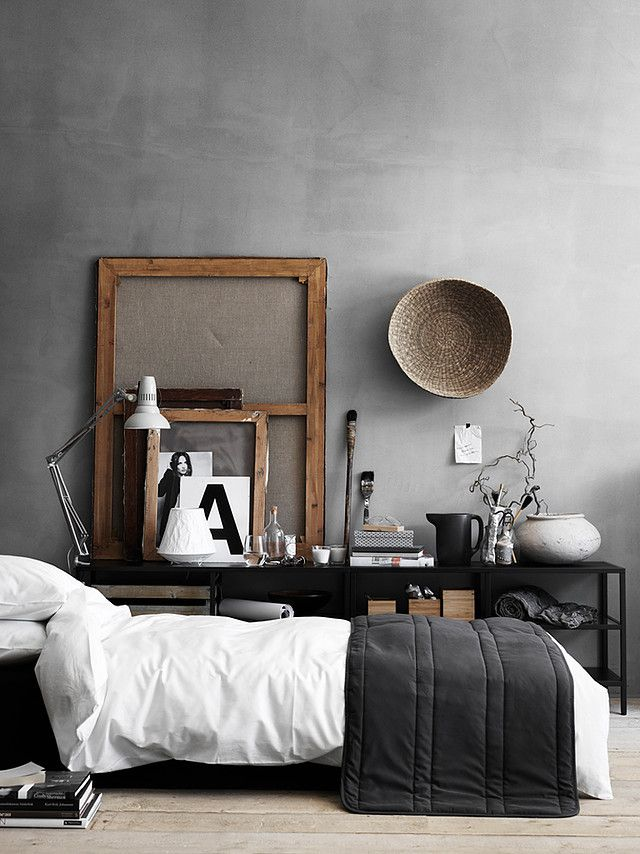 Faux concrete agent wall for Scandinavian bedroom