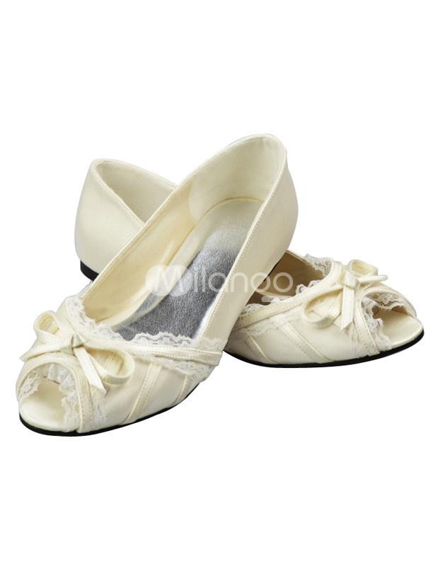 ivory bow chunky heel peep toe wedding sandals peeps. Black Bedroom Furniture Sets. Home Design Ideas