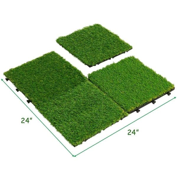 Shop Gymax 9pcs Artificial Grass Tiles Synthetic Grass Carpet For Patio Flooring Decor Overstock 28764045