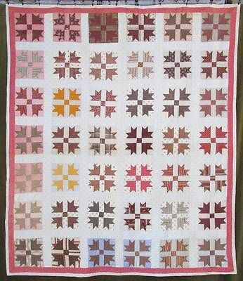 Civil War Era Antique Quilt GOOSE Tracks c1860 1890 Copper Madder Lancaster Blue | Vintageblessings