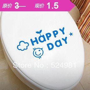 Бесплатная доставка 1 комплект /lot прекрасный пвх творческий туалет наклейки ванной decro стены size12 * 25 счастливый день