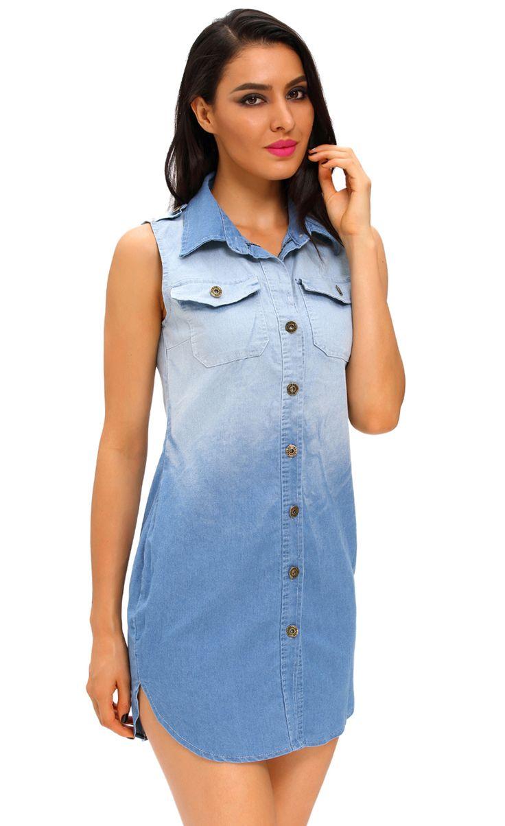 $34.99 Button Down Sleeveless Denim Shirt Dress