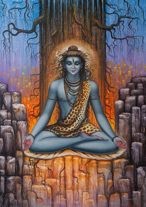 www.PaintingsGallery.pro_Vrindavan_Das_Shiva_Meditation_medium_222526.jpg (493×700)