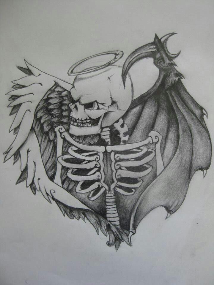 Simple Good And Evil Tattoo : simple, tattoo, Goodness, Skull, Tattoo,, Tattoos,, Tattoos