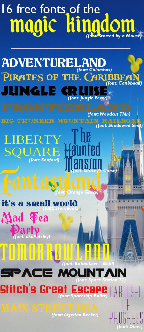 16 Magic Kingdom fonts (and they're all free) http://wdwprepschool.com/16-magic-kingdom-fonts-and-theyre-all-free/#