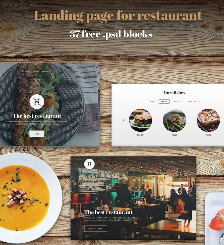 Restaurant Landing Page - 37 PSD Blocks