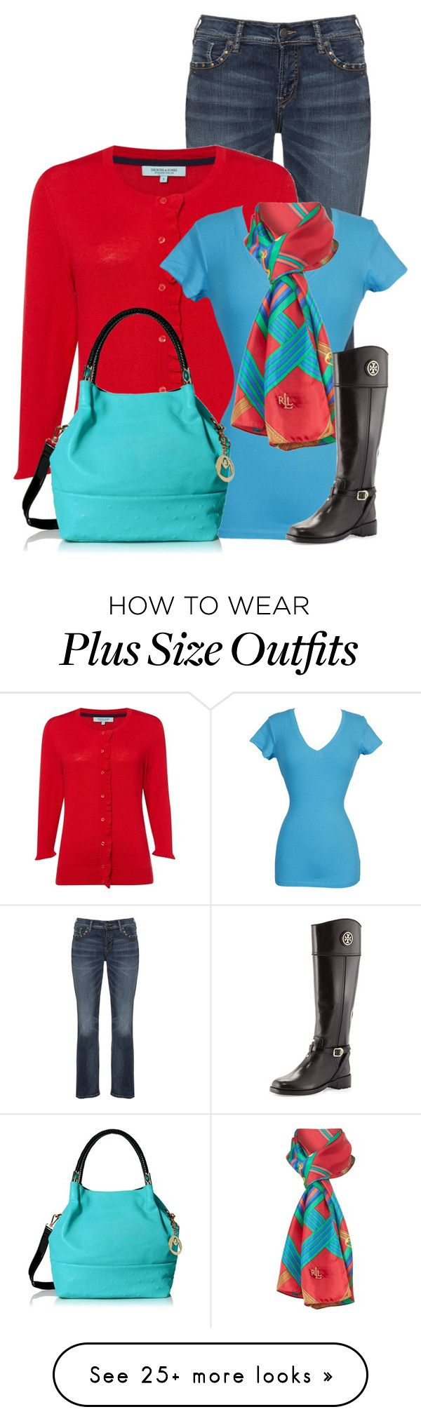 """""""Untitled #13247"""" by nanette-253 on Polyvore featuring Silver Jeans Co., Dickins & Jones, Lauren Ralph Lauren and Tory Burch"""
