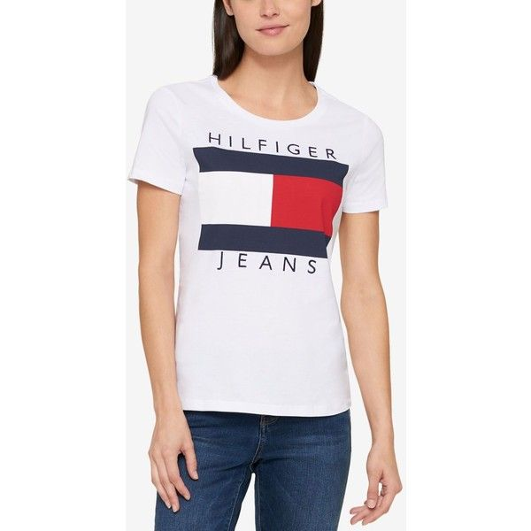 Tommy Hilfiger Cotton Logo T-Shirt, Created for Macy's (560 MXN) ❤ liked on Polyvore featuring tops, t-shirts, heather grey, tommy hilfiger top, logo tee, cotton logo t shirts, tommy hilfiger tee and heather gray t shirt