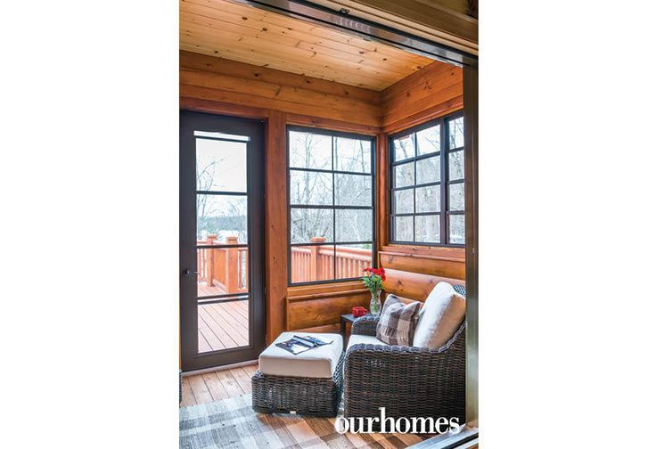 """A private, enclosed deck off one bedroom provides access to the main deck and stairs to the yard.    See more of this home in """"Fifth Generation Legacy on Muskoka's Moon River"""" from OUR HOMES Muskoka Early Summer 2017: http://www.ourhomes.ca/articles/build/article/fifth-generation-legacy-on-muskokas-moon-river"""