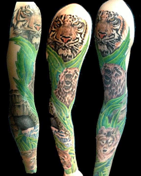 animal sleeve tattoo jimmy rekowski ink pinterest animal sleeve tattoo tattoo and tattoo. Black Bedroom Furniture Sets. Home Design Ideas