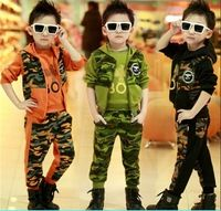 Hot Children 3 Pcs 2017 Spring Fall Boys Sport Camouflage Clothing Kid Military Uniform Tops + Hooded Vest +Pants Tracksuit G220
