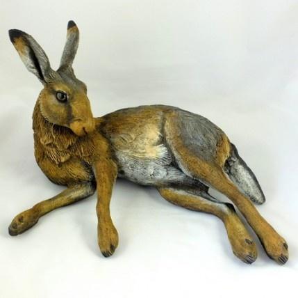 A superb lifesize Ceramic Hare by Karen Fawcett