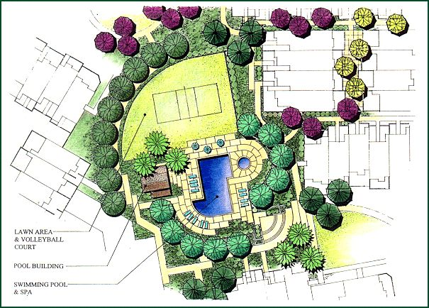 Communal landscape with two quarter circle lawns for Building site plan software
