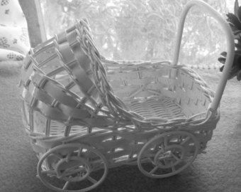 Vintage Wicker Baby Buggy Great for Baby Shower by WickerLady