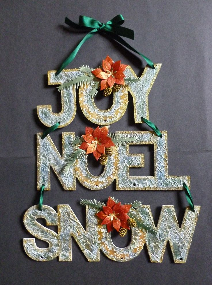 'Joy, Noel, Snow' Christmas hanging decoration. - Imagination Craft's -  MDF Christmas words.  White chalk MDF paint.  White stencil Medium.  Metal soatula.  Alchemy Waxes - Cobalt & Peridot.  Starlight paints - Menthol, Antique Gold, & Orange oxidised.  Pine branch & Poinsettia dies - Marianne Design.   Star ring die - Memory Box.   August 2016.   Designed by Jennifer Johnston.