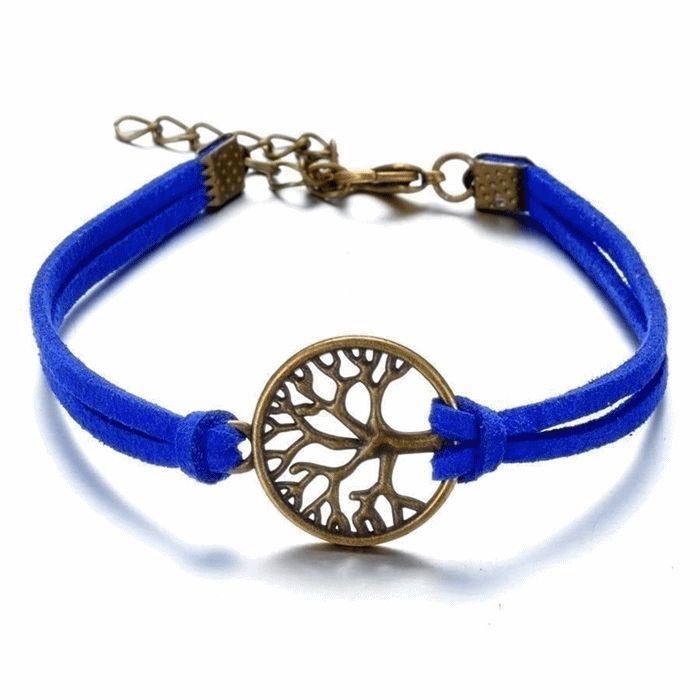 2 soros barátság karkötő (örök életfa) - kék/bronz