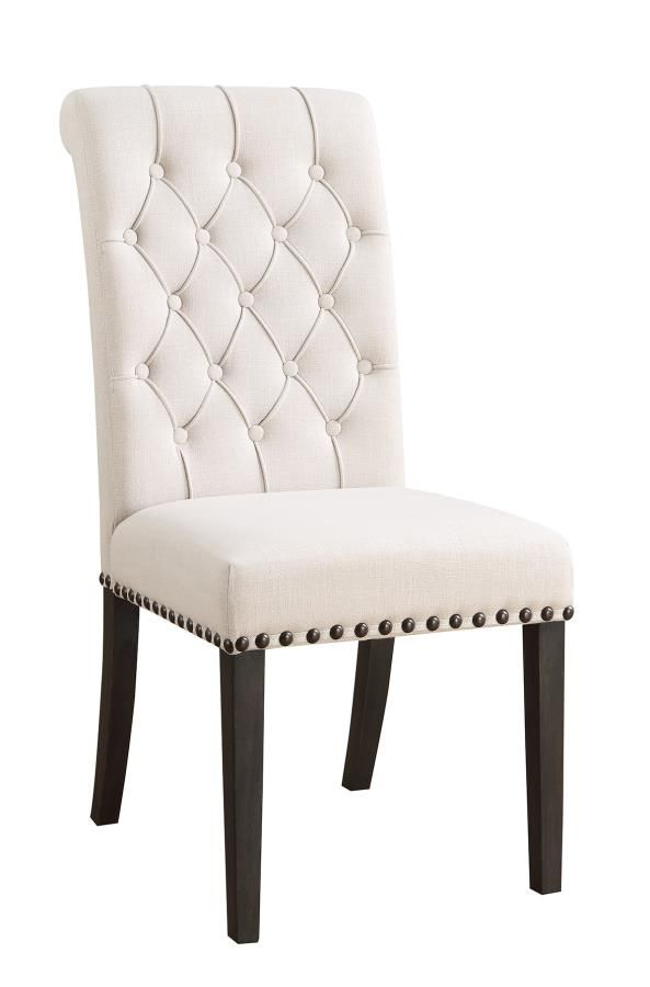 107286 Set Of 2 Weber Cream Tufted Back Fabric Dining Chair