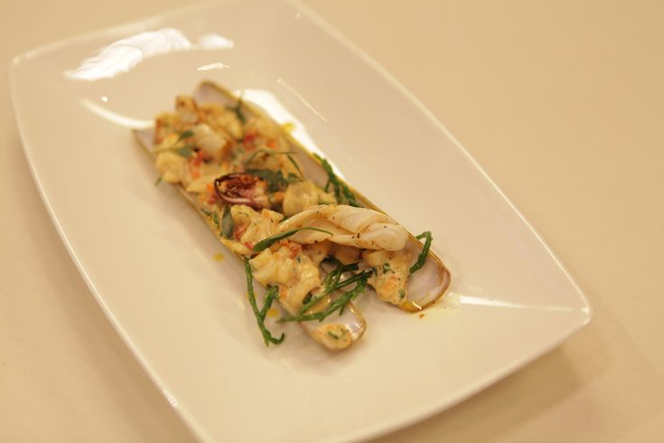 Tom Kitchin's Razor Clams (Spoots) with Crispy Squid and Samphire.