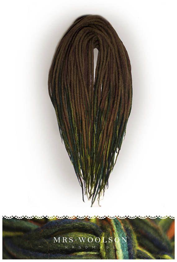 FULL HEAD 40 DE Brown / green wool dreadlocks forest love  https://www.etsy.com/shop/MrsWoolsonHandmade ● #woolies #wooldreadlocks #wooldreads #dreadlocks #dreads #rasta #tribal #gypsy #dreadextensions #dread #handmade #handmadedreadlocks #wool  #green #greendreads #moss #forest