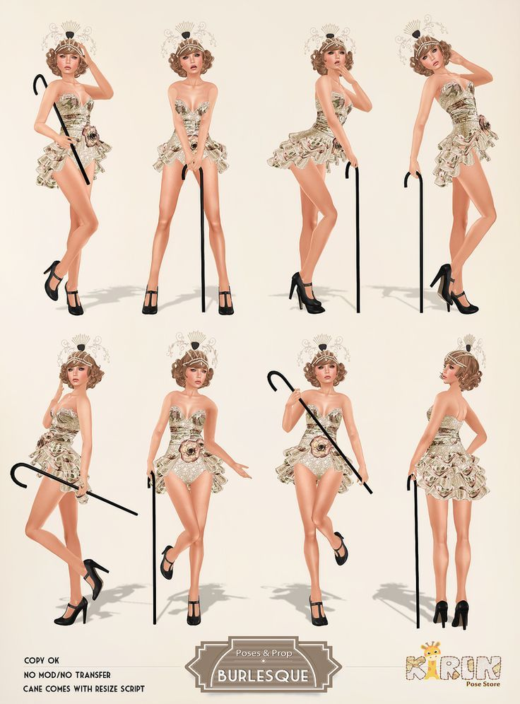 Eight burlesque and pin up poses with a prop. See more burlesque on Second Life…