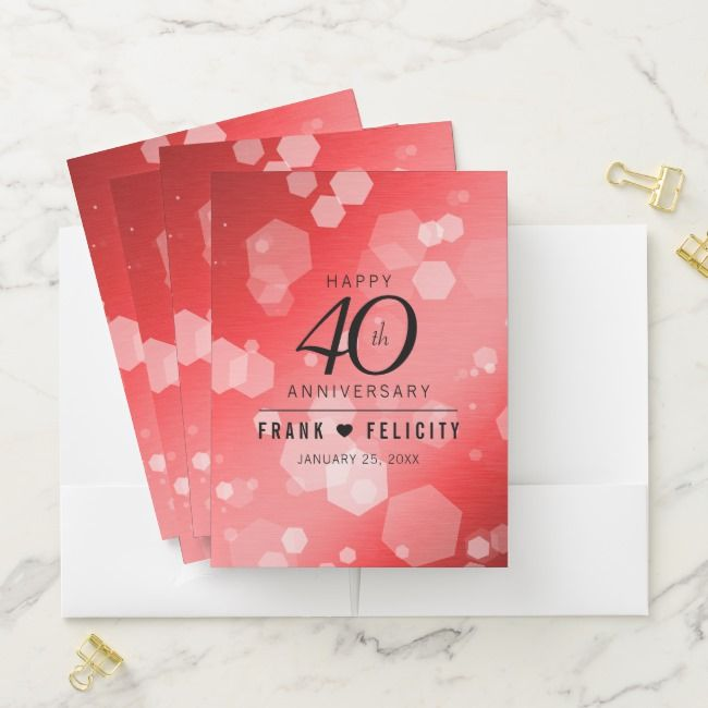 Elegant 40th Ruby Wedding Anniversary Celebration Pocket Folder Ad Affi Ruby Wedding Anniversary Wedding Anniversary Celebration Anniversary Party Supplies
