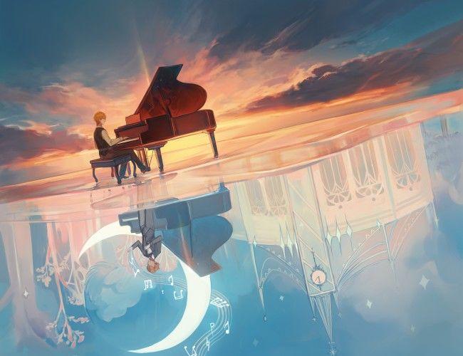 Blonde Anime Boy Reflection Landscape Sunset Anime Scenery Anime Anime Background