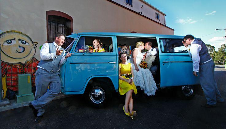 Bride + Groom + wedding party + Kombi
