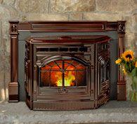 Castile Pellet Insert - brown enamel cast iron - by Quadra-Fire