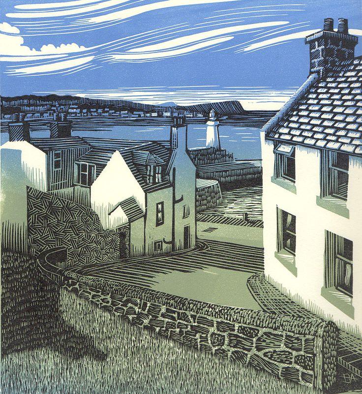 Bryan Angus ~ Macduff to Whitehills ~ Linocut, 20 x 22 cm