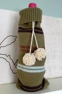 For keeping your wine warm: Wine Warm, Wool Wine, Pompoms, Jumper Sleeve, Wine Bags