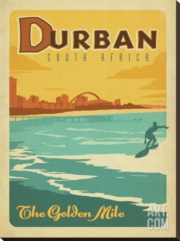 Durban, South Africa: The Golden Mile Stretched Canvas Print by Anderson Design Group at Art.com