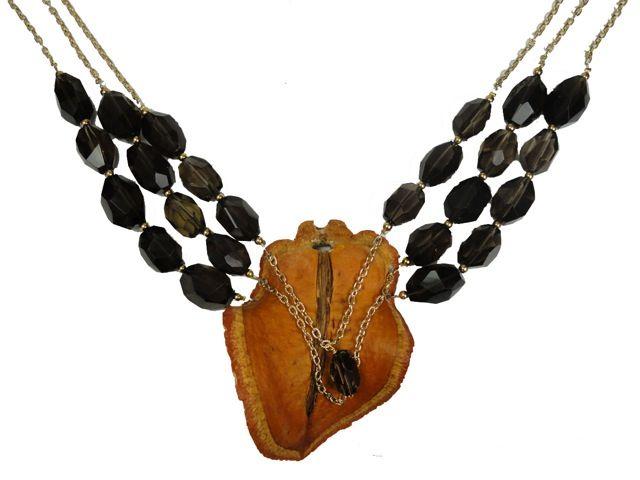 Jacaranda Seed Pod and Stone Necklace-Orange.