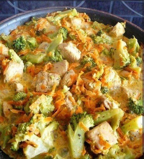 """Курица с брокколи и морковью, тушеная в сливках  Калорийность на 100 гр готового блюда - 85 ккал  Это вкусное и полезное блюдо отлично подойдет на обед или на ужин.  ИНГРЕДИЕНТЫ: - куриное филе - 300 гр - морковь - 120 гр - брокколи (можно взять замороженную) - 300 гр - сливки 10% жирности - 120 гр - легкий творожный или сливочный сыр - 1 ст.л. (15-20 гр) - соевый соус - 1 ст.л. - бальзамический уксус (белый) - 1 ст.л. - чеснок - 1-2 зубчика - приправа """"Итальянские травы"""", соль, перец - по…"""