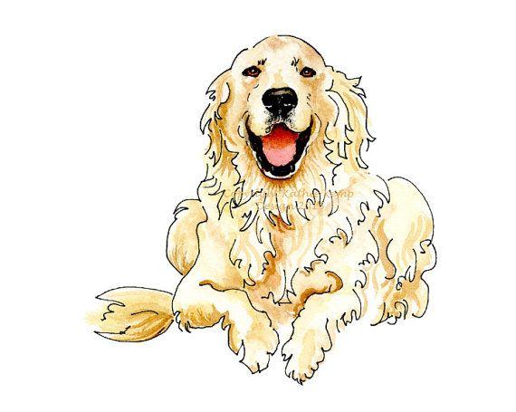 English Cream Golden Retriever Happy Cute Pet Portrait Gift Idea Men Dog Lovers Drawing Pen & Ink Watercolor Angel Memorial Ivory Blue Gold