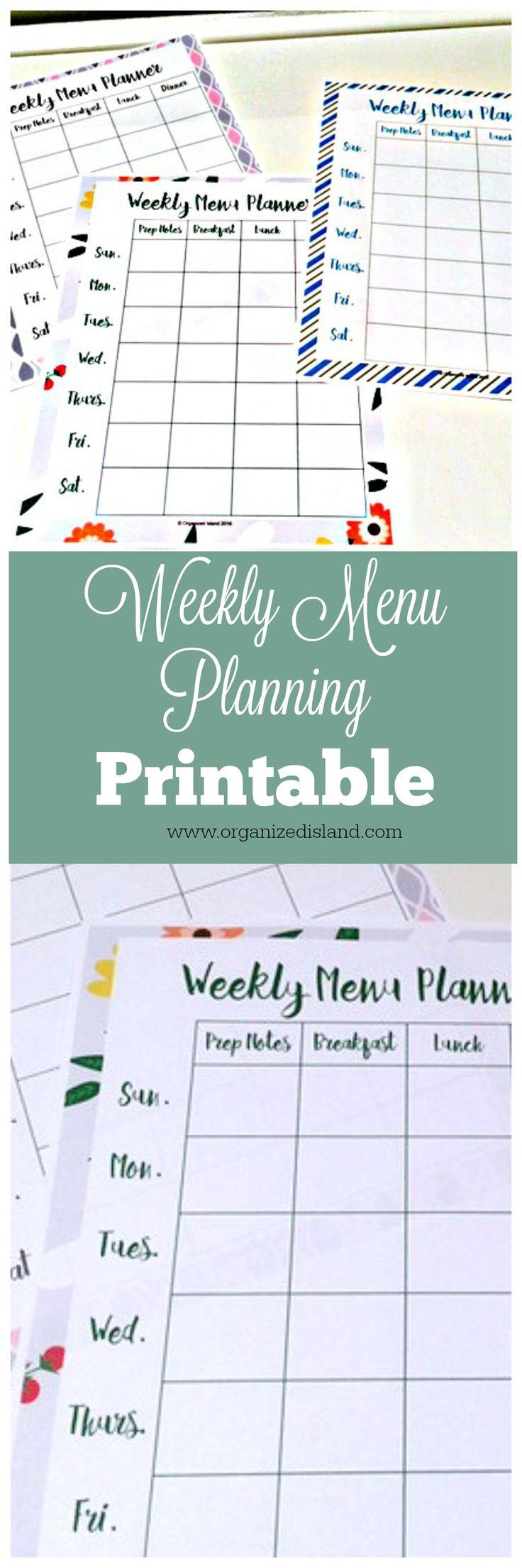 dinner menu planning templates