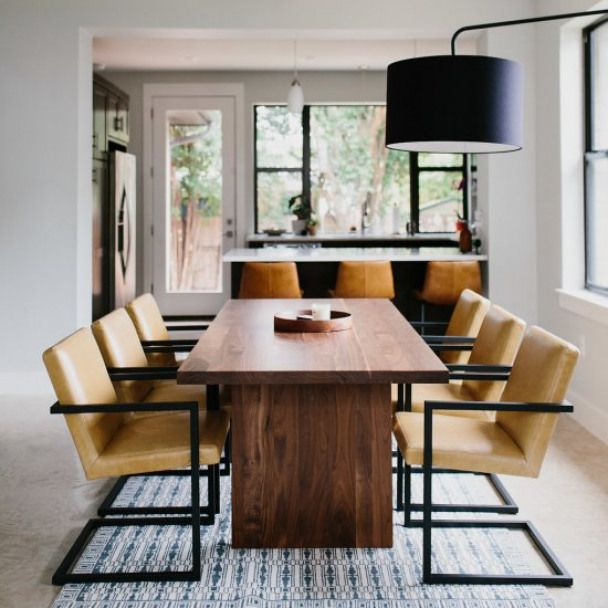 Modern Dining Room W Walnut Table Modern Dining Room With Solid
