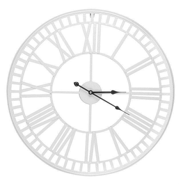 XL White Metal Skeleton Roman Numeral  Wall Clock 60cm Next Day Despatch in Home, Furniture & DIY, Clocks, Wall Clocks | eBay!